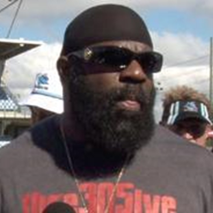 Kimbo Slice visits Sharks training