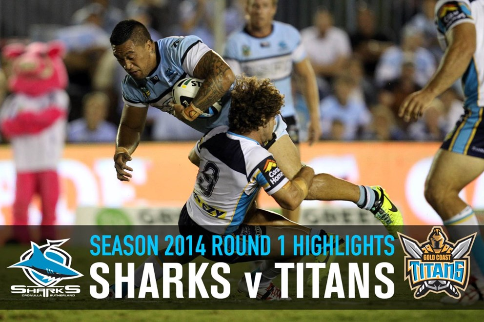 Tinirau Arona hit by Falloon : NRL Rugby League - Round 1 Cronulla Sharks V Te Gold Coast Titans at Remondis Stadium Monday the 10th of March 2014 . Digital Image by Grant Trouville © nrlphotos.com