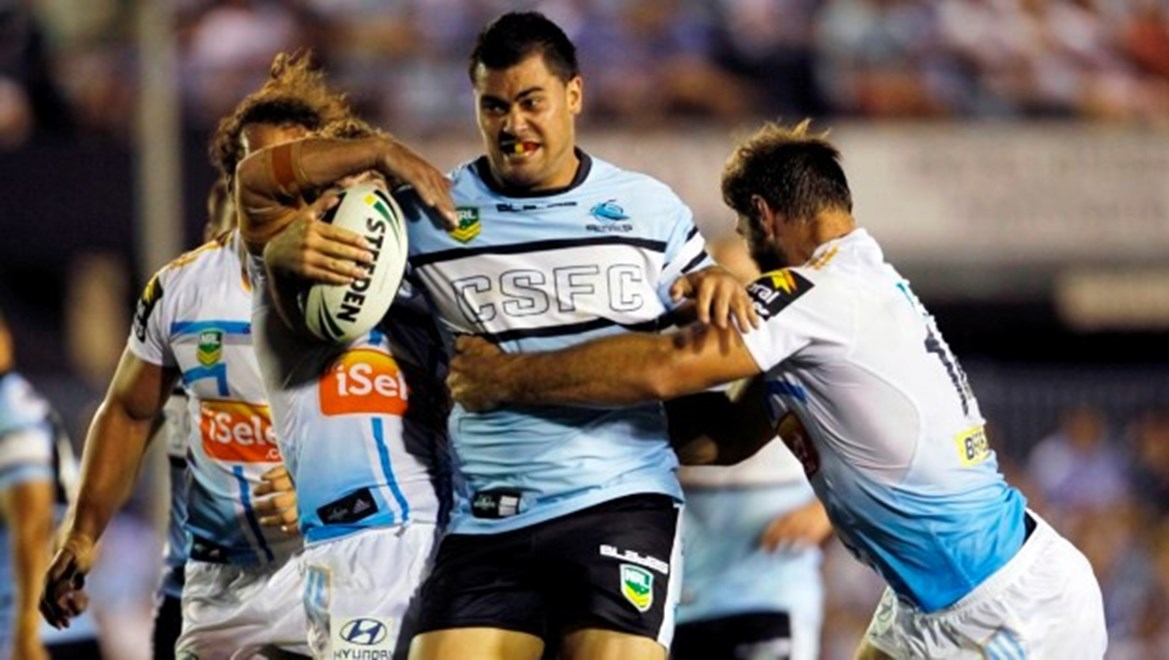 Andrew Fifita in action for the Sharks: NRL Round 1