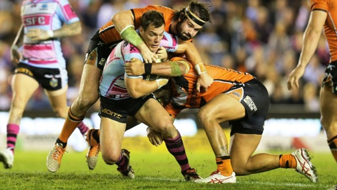 Digital Image Grant Trouville © nrlphotos.com : John Morris wrapped up   : NRL Rugby League Round 10 - Women in League Round