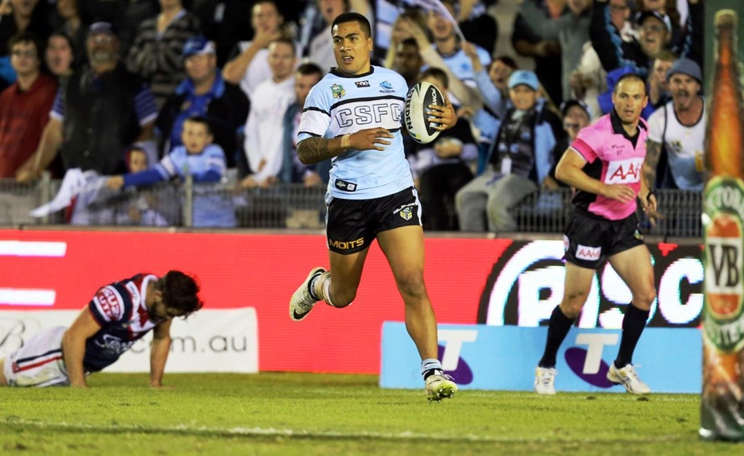 Digital Image Grant Trouville © nrlphotos.com : Sharks Celebrate after Feki scores : NRL Rugby League Round 7- Cronulla Sharks v Sydney Roosters at Remondis Stadium
