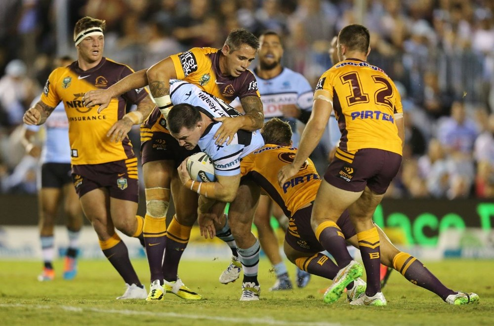 Paul Gallen on the charge  :Digital Image by Grant Trouvile © NRLphotos  : 2015 NRL Round 2 - Cronulla Sharks  V Brisbane Broncos  at Remondis Stadium, Friday March 13th 2015.