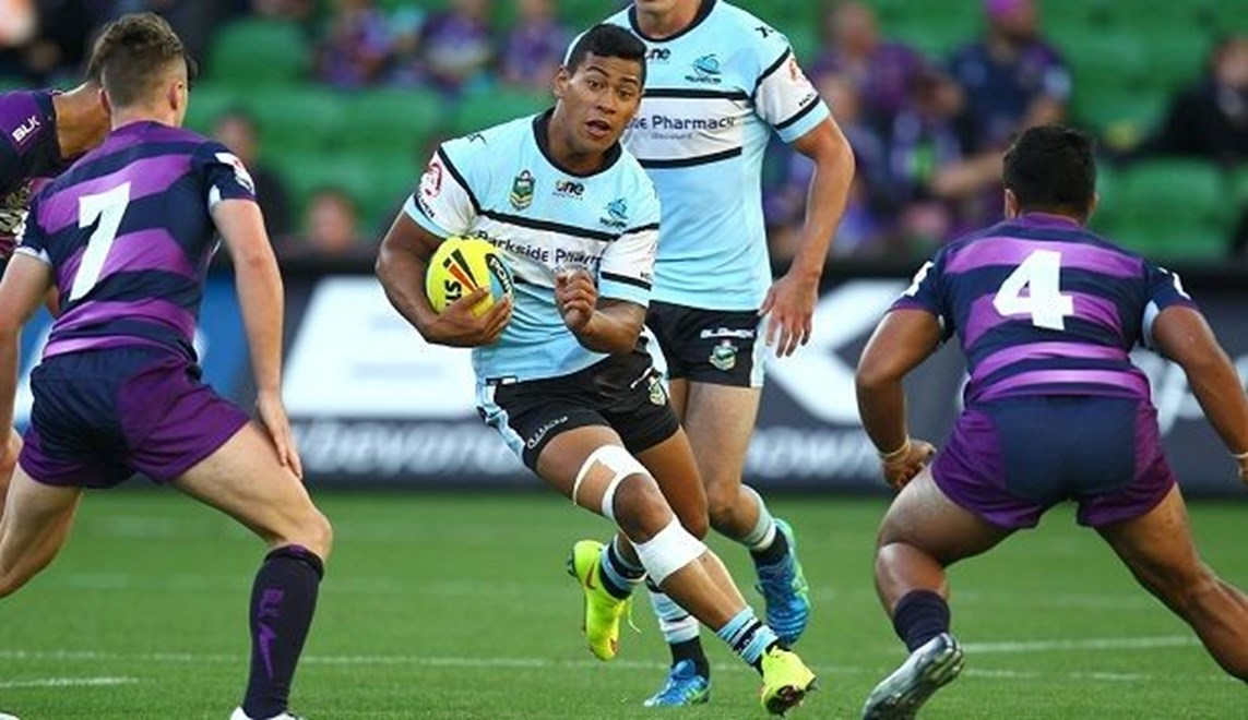 Digital Image by Ian Knight © nrlphotos.com: NYC, Rugby League, Round 3, Melbourne Storm v Cronulla Sharks @ AAMI Park, Melbourne, VIC, Saturday March 21st, 2015.