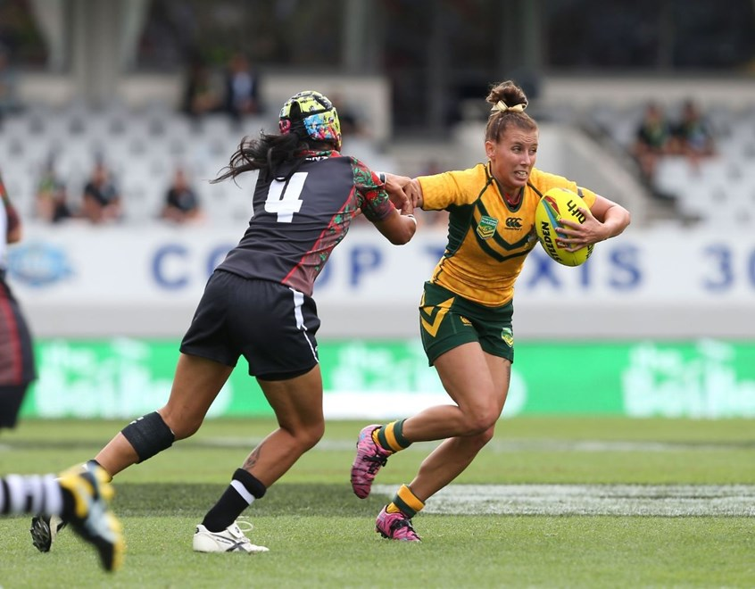 Sam Hammond during the Jillaroos V Ferns Auckland 9s match at Eden Park. Pic by Robb Cox © NRL Photos