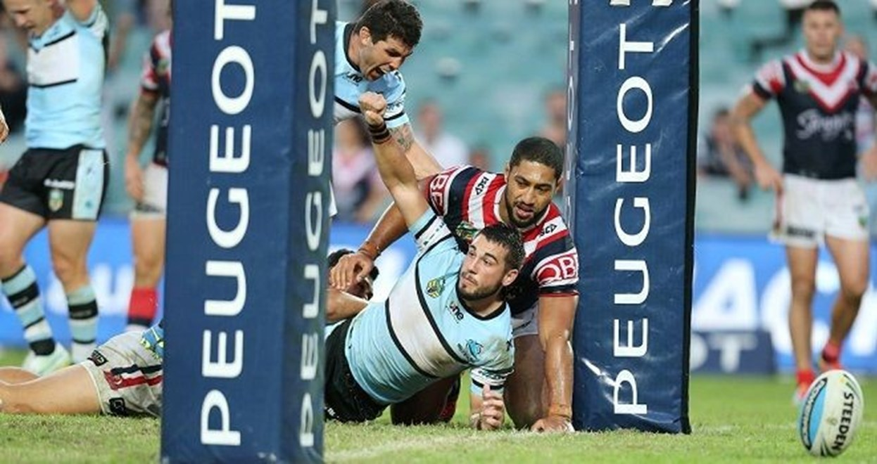 Sharks Celebrate after Jack Bird scores his 2nd   :Digital Image by Grant Trouvile © NRLphotos  : 2015 NRL Round 5 - Sydney Roosters v Cronulla Sharks At Allianz Stadium April 5th  2015.