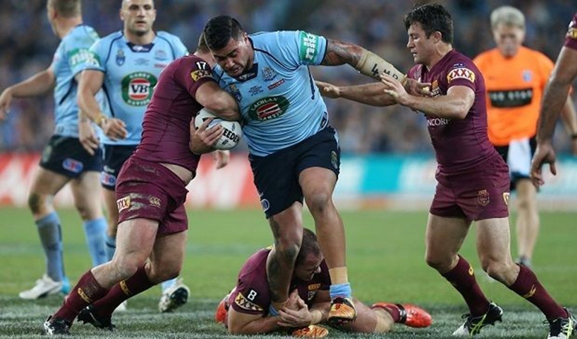 Andrew Fifita attacks  :Digital Image Grant Trouville © NRLphotos  : 2015 State of Origin Game 1 - NSW v QLD at ANZ Stadium, Wednesday the 27th of MAY  2015.