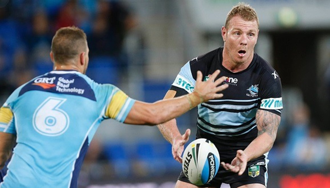 Luke Lewis : Digital Image Charles Knight © NRLphotos. NRL Rugby League, Gold Coast Titans vCronulla Sharks at Cbus Super Stadium, Gold Coast, May 16th 2015.