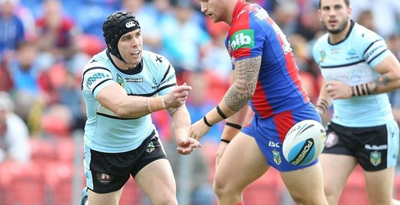 Digital Image by Anthony Johnson copyright © nrlphotos.com:  Michael Ennis : 2015 NRL Round 15 -   Newcastle Knights vs Cronulla Sharks at Hunter Stadium Sunday June 21st 2015