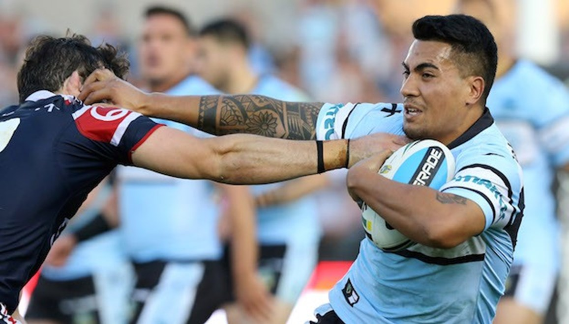 Sosaia Feki  :Digital Image Grant Trouville © NRLphotos  : NRL Rugby League Round 13 - Cronulla Sharks v Sydney Roosters at Remondis Stadium Oval Cronulla Sunday 7th June  2015.