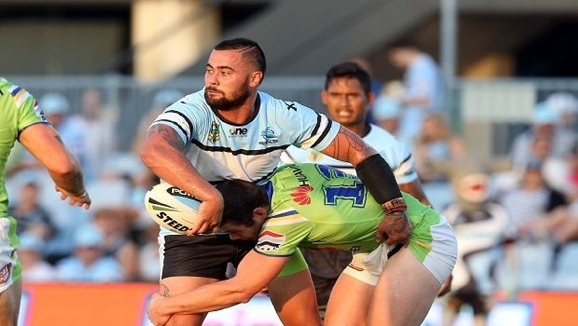 Digital Image by Grant Trouvile © NRLphotos : Andrew Fifita ofloads   : 2015 NRL Round 1 - Cronulla Sharks v Canberra Raiders at REMONDIS Stadium, Sunday March 8th 2015.