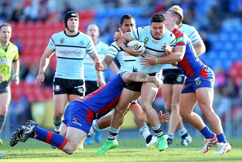 Digital Image by Anthony Johnson copyright © nrlphotos.com:  Chris Heighington : 2015 NRL Round 15 -   Newcastle Knights vs Cronulla Sharks at Hunter Stadium Sunday June 21st 2015