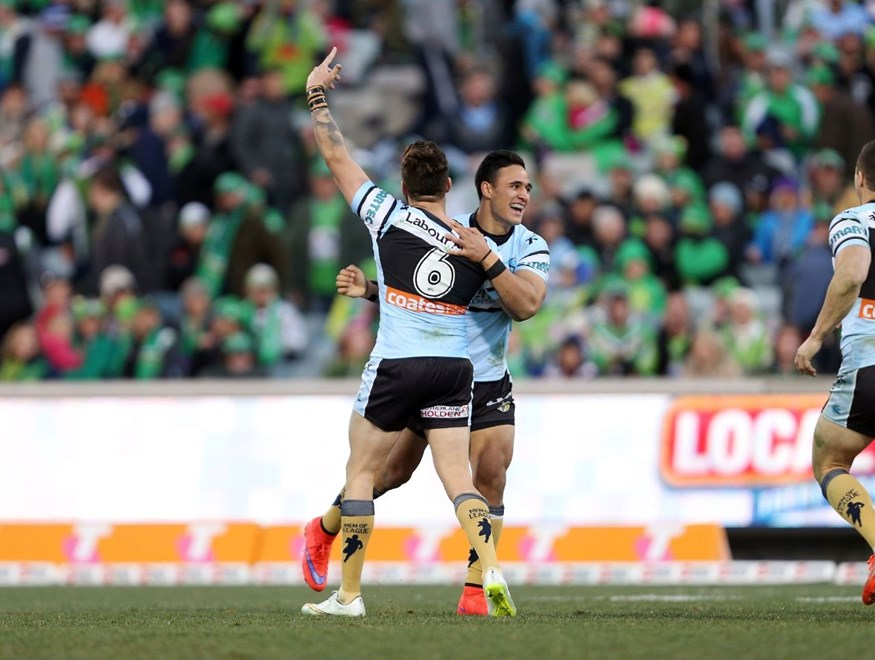 Valentine Holmes celebrates his winning field goal with Jack Bird :NRL Rugby League - Raiders V Sharks at GIO Stadium, Saturday July 18th 2015. Digital Image by Robb Cox ©nrlphotos.com