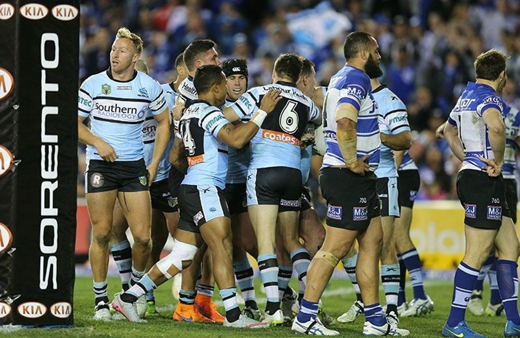 Sharks Celebrate after Gallen scores  :Digital Image Grant Trouville © NRLphotos  : NRL Rugby League - Round 20 - Bulldogs v Cronulla Sharks at Belmore Oval Sportsground Sunday the 26th of July  2015.