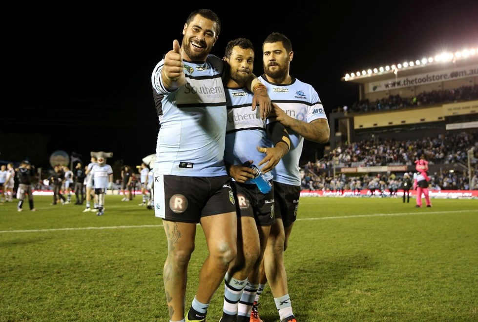 Fifita Brothers and Bukuya :Digital Image Grant Trouville © NRLphotos  : NRL Rugby League - Round 18 - Cronulla Sharks v St George Illawarra Dragons at ANZ Remondis Cronulla, Sunday July 12th  2015.