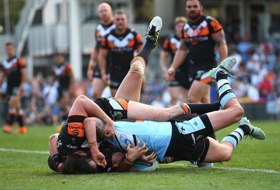 Michael Ennis of the Sharks during the Round 24 NRL match between the Cronulla Sutherland Sharks and Wests Tigers at Remondis Stadium on August 16, 2015 in Canberra, Australia. Digital Image by Mark Nolan.