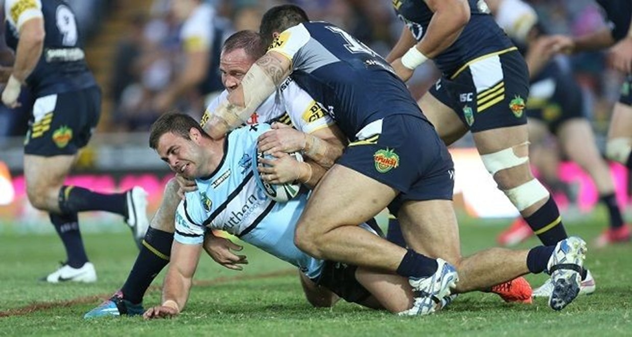 Wade Graham tackled:	Rugby League, NRL Round 16 North Queensland Cowboys v Cronulla Sutherland Sharks at Townsville, Saturday June 27 2015. Digital Image by Colin Whelan nrlphotos.com