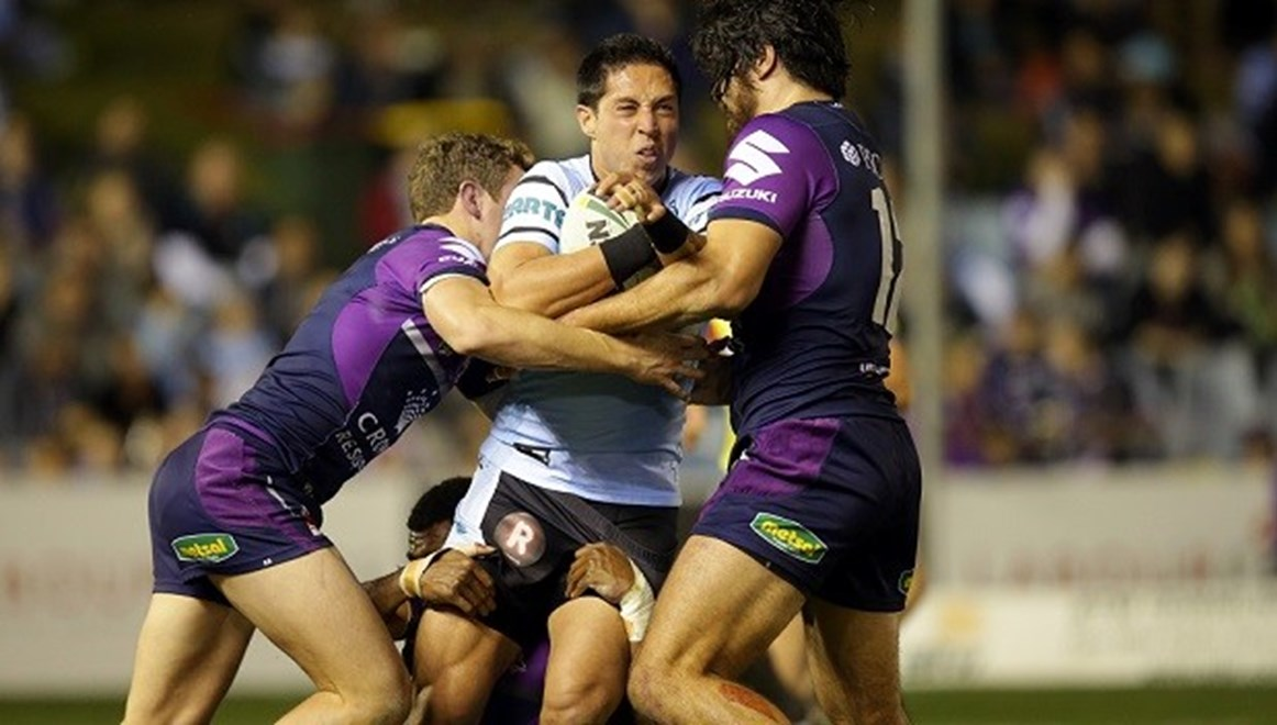 Digital Image by Chris Lane copyright nrlphotos.com: Gerard Beale: 1st Grade Round 23 - Cronulla Sharks vs Melbourne Storm at Remondis Statdium Monday August 17th 2015