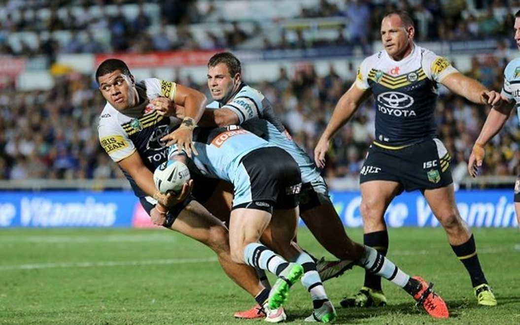 :Digital Image Grant Trouville © NRLphotos  : NRL Rugby League - Finals Week 2 - NQ Cowboys v Cronulla Sharks at 1300SMILE Stadium Townsville, Saturday 9th of September 2015.