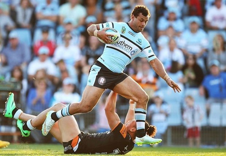 Jayson Bukuya of the Sharks during the Round 24 NRL match between the Cronulla Sutherland Sharks and Wests Tigers at Remondis Stadium on August 16, 2015 in Canberra, Australia. Digital Image by Mark Nolan.