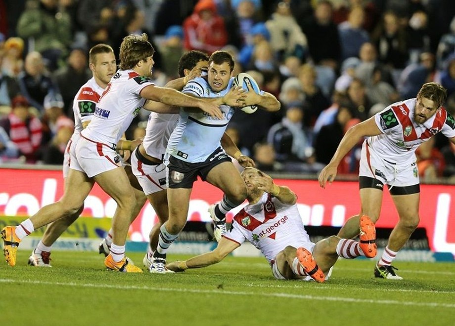 :Digital Image Grant Trouville © NRLphotos  : NRL Rugby League - Round 18 - Cronulla Sharks v St George Illawarra Dragons at ANZ Remondis Cronulla, Sunday July 12th  2015.
