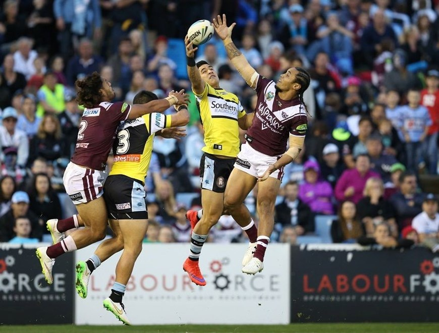 Holmes and Matai NRL  :Digital Image Grant Trouville © NRLphotos  : NRL Rugby League - Round 26 Cronulla Sharks v Manly Sea Eagles at Remondis Stadium Cronulla, Sunday the 6th of September  2015 Fathers Day.