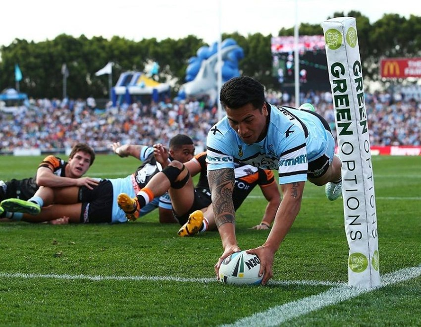 Sosaia Feki of the Sharks during the Round 24 NRL match between the Cronulla Sutherland Sharks and Wests Tigers at Remondis Stadium on August 16, 2015 in Canberra, Australia. Digital Image by Mark Nolan.