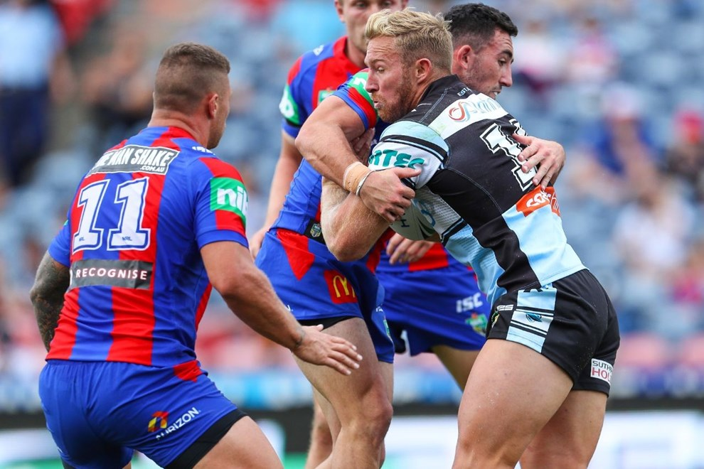 Competition - NRL Premiership Round. Round - Round 10. Teams - Newcastle Knights v Cronulla Sharks. Date - 15th of May 2016. Venue - Hunter Stadium, Broadmeadow NSW. Photographer - Paul Barkley.