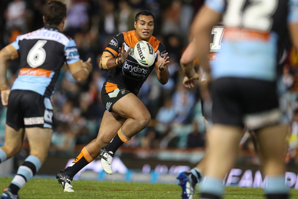 Competition - NRL. Round - Round 9. Teams - Wests Tigers v Cronulla Sharks. Date - 29th of April 2017. Venue - Leichhardt Oval