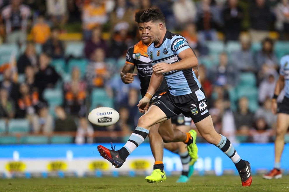Competition - NRL. Round - Round 9. Teams - Wests Tigers v Cronulla Sharks. Date - 29th of April 2017. Venue - Leichhardt Oval, Balmain NSW. Photographer - Paul Barkley | © NRL Photos