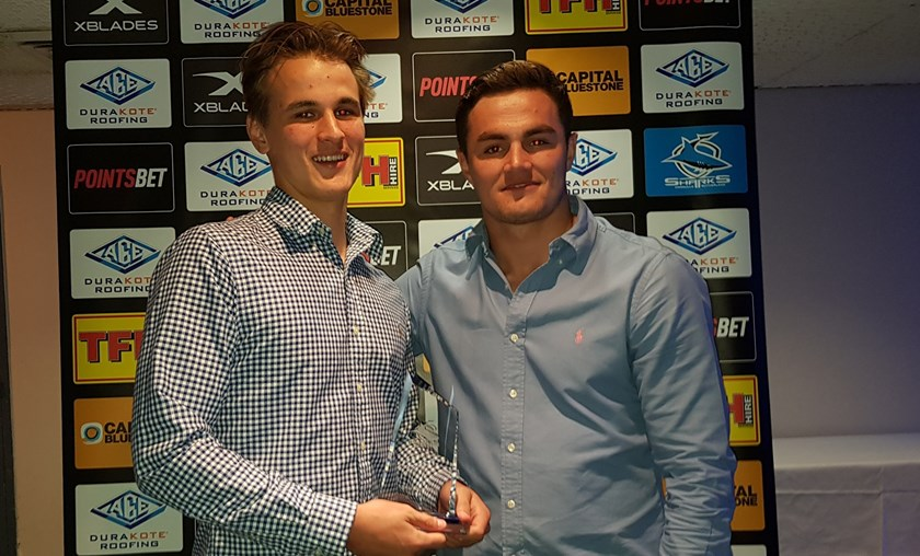 Sam Jinks, Matthews Cup Player of the Year with Sharks NRL squad member Kyle Flanagan