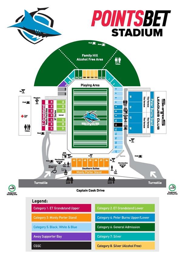 Southern Cross Group Stadium Map Sharks